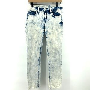 🌿 Madewell Acid Wash Skinny Jeans Blue White